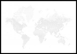 Poster, World Map Dots
